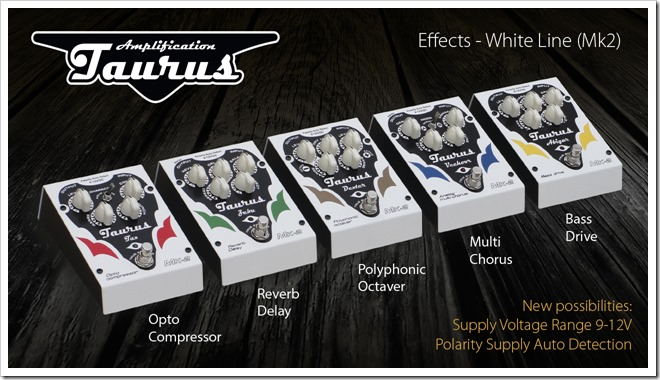 Taurus Introduces New Smaller, Lighter, 9VDC Effect Pedals